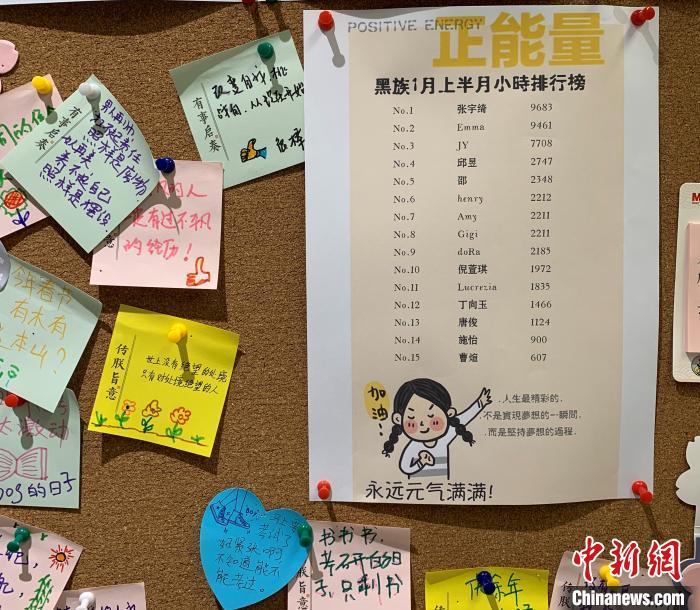 自习室墙上的留言板记录了会员的学习时长(单位:分钟)。美团供图